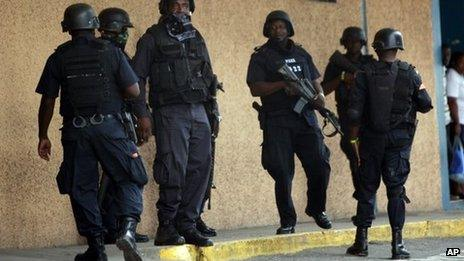 Armed police in Jamaica