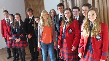 Shona and pupils from her old school