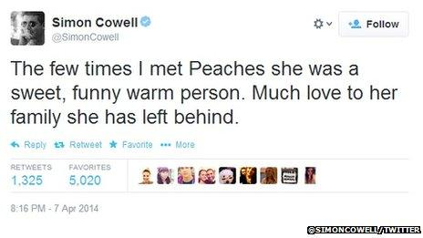 "Simon Cowell tweet, which reads: ""The few times I met Peaches she was a sweet, funny warm person. Much love to her family she has left behind."""