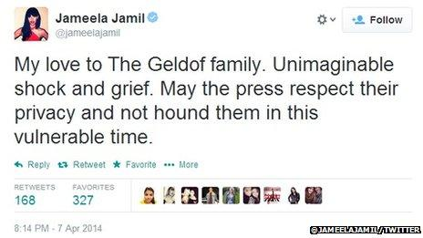 "Jameela Jamil tweet, which reads: ""My love to The Geldof family. Unimaginable shock and grief. May the press respect their privacy and not hound them in this vulnerable time."""