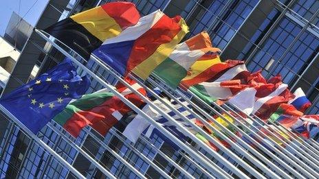 Flags outside European Parliament, Strasbourg - file pic