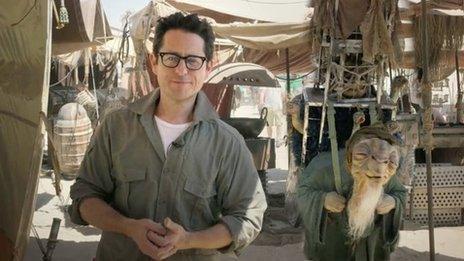 J J Abrams on the set of Star Wars