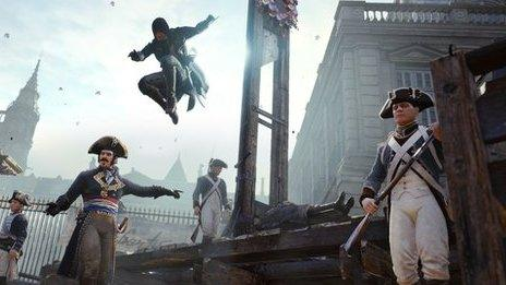 Assassin's creed characters at an execution site