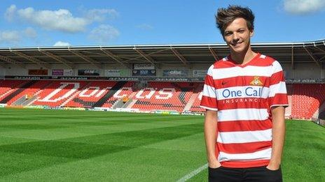 Louis Tomlinson at Doncaster Rovers' stadium