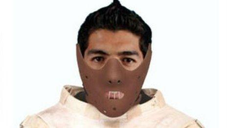 A mash-up of Hannibal Lecter and Suarez shared on social media