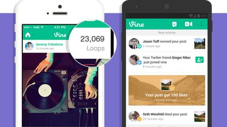 Vine app showing the new Loop Counts