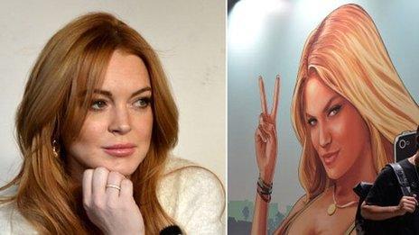 Lindsay Lohan next to Lacey Jonas