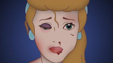 Pictures showing cartoon style princesses marked with cuts and bruises