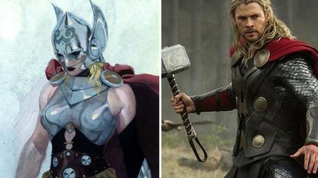 Thor as a woman and Chris Hemsworth film version