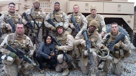 Sima Kotecha with US soldiers