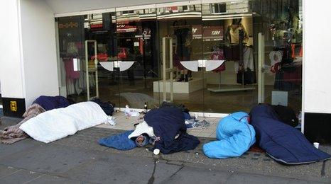 A group of people sleeping rough