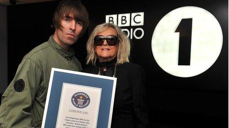 Liam Gallagher and Annie Nightingale