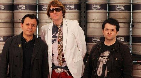James Dean Bradfield, Nicky Wire and Sean Moore from Manic Street Preachers