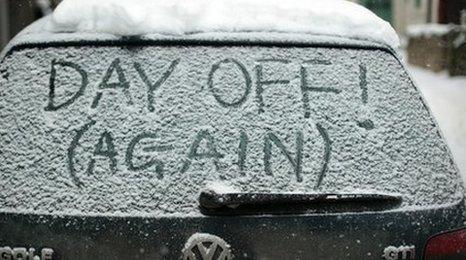 Car with 'Day Off! (Again)' written on windscreen