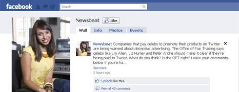 Screen grab of Newsbeat Facebook page