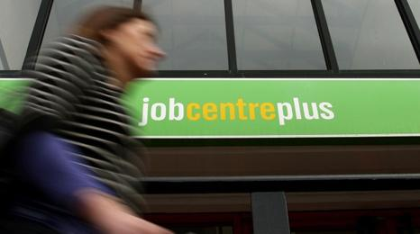 Woman outside job centre
