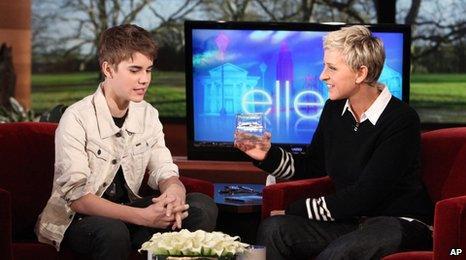 Justin Bieber and Ellen DeGeneres