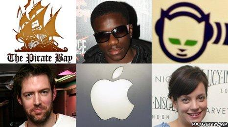 Pirate Bay logo, Tinchy Stryder, Napster Logo, Ed O'Brien, Apple, Lily Allen
