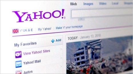 Yahoo web page