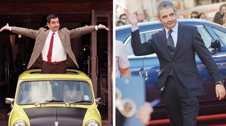 Mr Bean (left) and Rowan Atkinson at Johnny English film premiere (right)