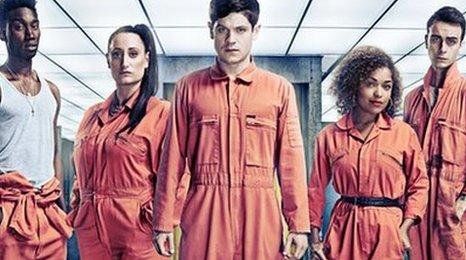 Misfits characters Curtis, Kelly, Simon, Alisha and new boy Rudy (right)