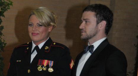 Corporal Kelsey De Santis and Justin Timberlake