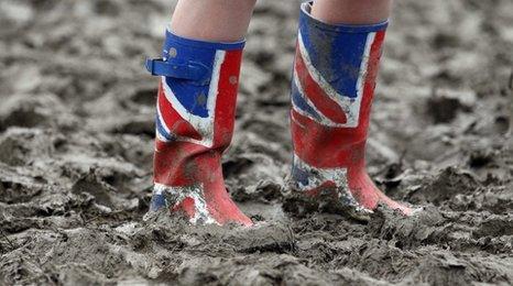 Wellington boots at Glastonbury Festival