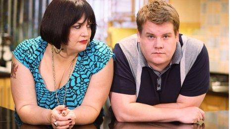 Ruth Jones as Nessa and James Corden as Smithy in Gavin and Stacey