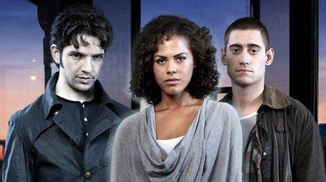 Damien Molony, Lenora Crichlow and Michael Socha from Being Human