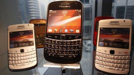 BlackBerry handsets on sale in a shop window