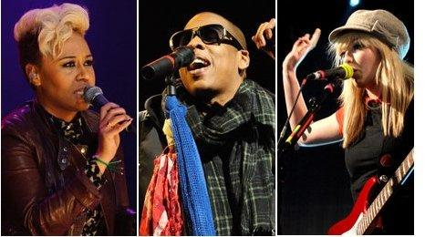 Emeli Sande, Jay-Z and The Ting Tings