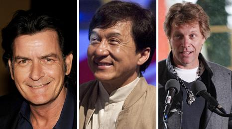 Charlie Sheen, Jackie Chan and Jon Bon Jovi