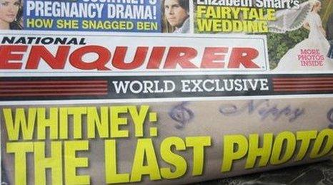 National Enquirer Whitney last photo front page splash