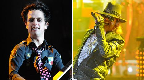 Billie Joe Armstrong from Green Day and Axl Rose from Guns N' Roses