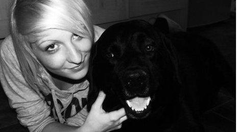 Charlotte Seddon and her pet dog