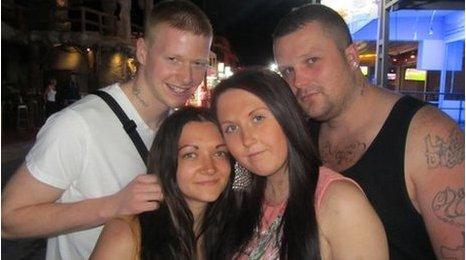 (l-r) Joe Perfect, 23, Jess McDermott, 20, Hollie Feller, 20, Chris Kay, 25