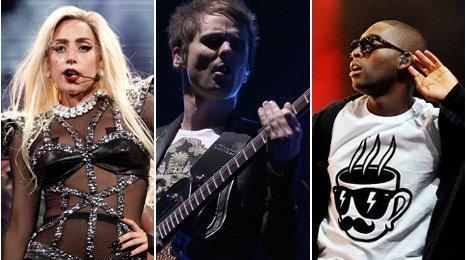 Lady Gaga, Muse and Tinie Tempah