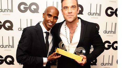 Mo Farah and Robbie Williams