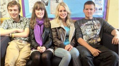 Left to right: Liam Cutler, Dominique Triggs, Amy Clarkson, Michal Zatrack, all 17 and all students at Northallerton College