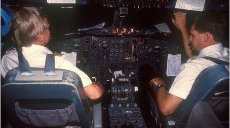 Pilots preparing for take-off