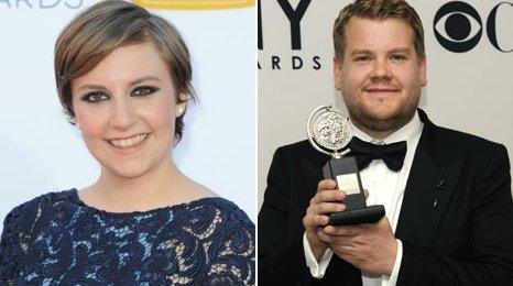Lena Dunham and James Corden
