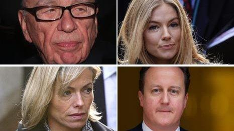 Rupert Murdoch, Sienna Miller, Kate McCann and David Cameron