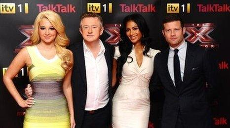 X Factor judges Tulisa, Louis and Nicole with presenter Dermot O'Leary