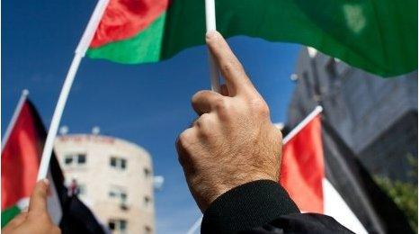 Palestinians wave flag at a recent national rally