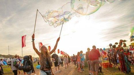 Bestival festival-goer