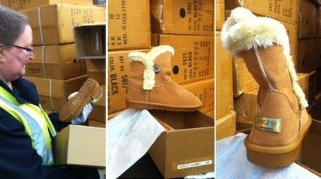 Border Force staff examine fake boots