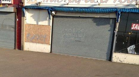 Boarded up shops in Margate, Kent