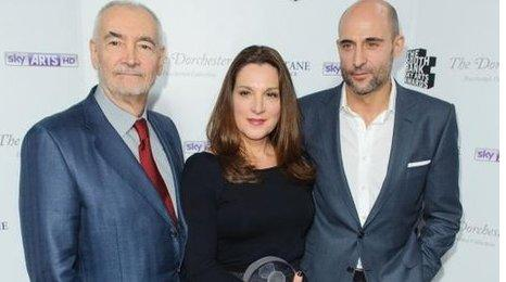 Producers Michael J Wilson (left), Barbara Broccoli, Mark Strong