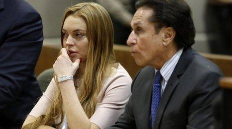 Lindsay Lohan and her lawyer Mark Heller