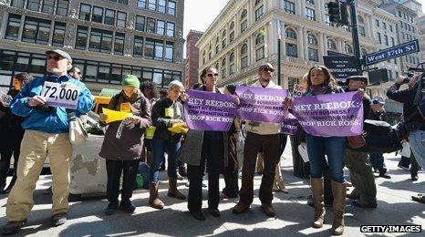 Demonstration outside Reebok shop